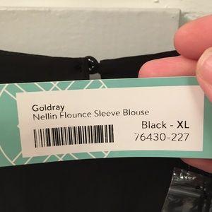 Gold ray Flounce Sleeve Blouse